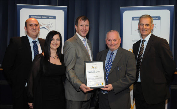 Scotland Boys Club (Academy of Football) receiving 'Scottish FA – Quality Mark – Standard Award' at Hampden Park on Thursday 18th November 2010